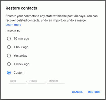 restore contacts by gmail