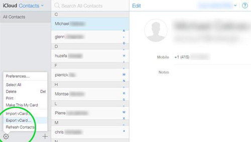 export contacts from iphone to samsung via icloud