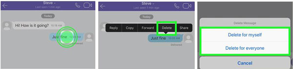 delete viber messages on iphone