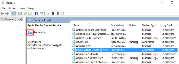 start apple mobile device service