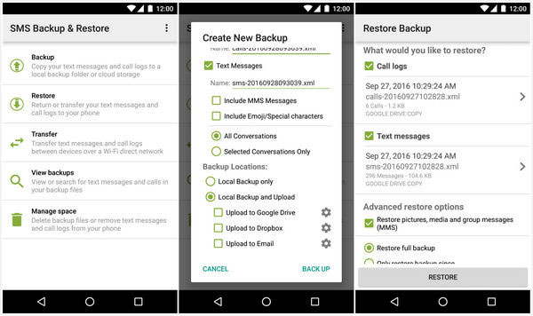 restore android call logs with sms backup and restore