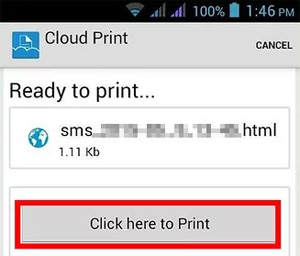 print android text messages via google