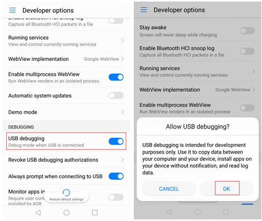 enable usb debugging on huawei honor