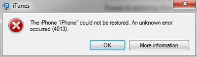 fix iphone errors 4013