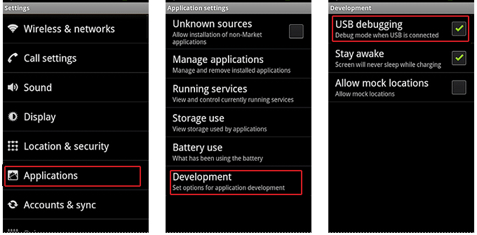 enable usb debugging on android 2.0