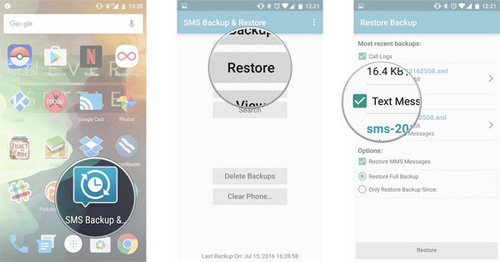 how to recover deleted text messages on android via sms backup and restore