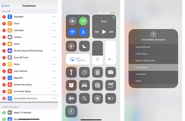 turn on or turn off ios 12 dark mode from control panel