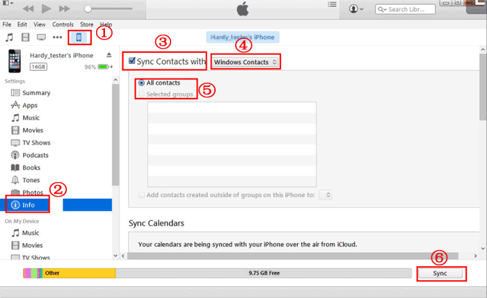 save iphonec contacts with itunes