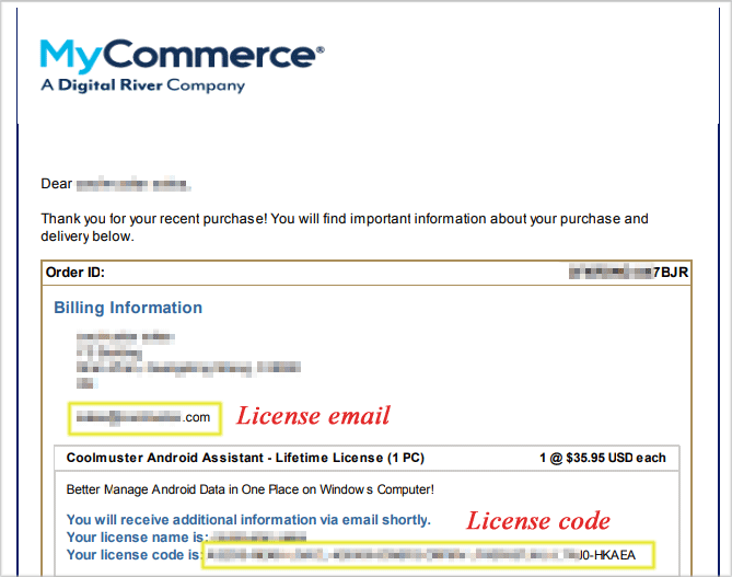 check license code via email