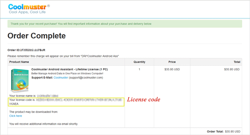 check license code on order complete page