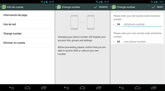 how to transfer whatsapp to new phone via change number feature
