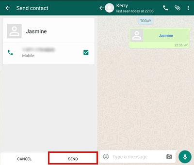 share whatsapp contacts on android
