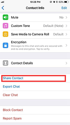 share whatsapp contacts on iphone