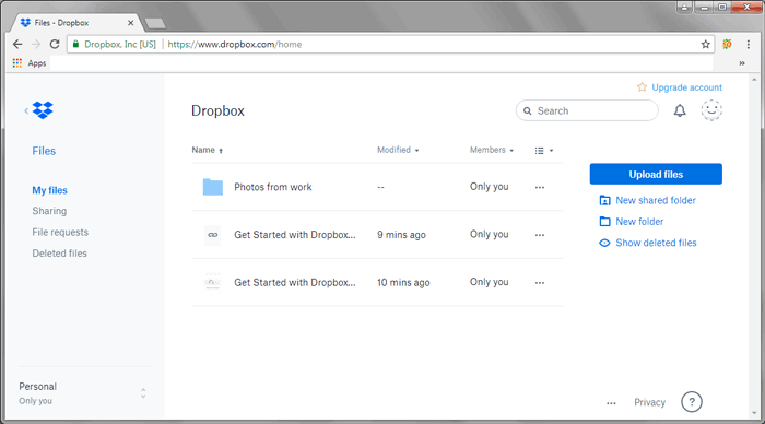 transfer files from pc to lg phone with dropbox