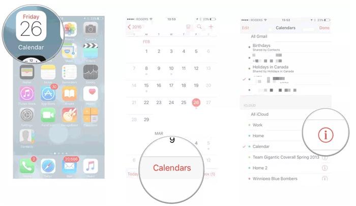 tap info inco on iphone calendar