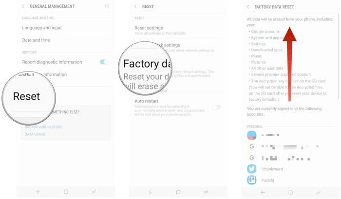 unlock samsung phone via factory reset