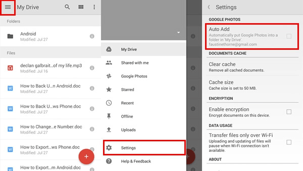 transfer photos from android to iphone with google drive