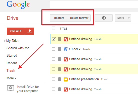 restore deleted android files from google drive