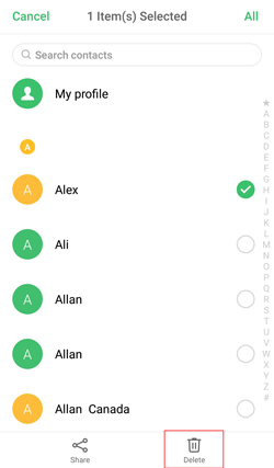 how to delete contacts on android