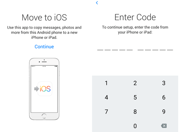 start to transfer contacts from samsung to iphone with move to ios