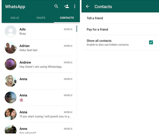 delete whatsapp contacts on android