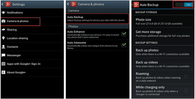 back up pictures for android with google plus