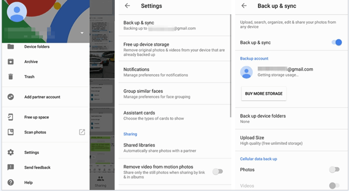 check the backup settings if google photo backup stuck