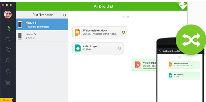 how to transfer music from computer to android with airdroid