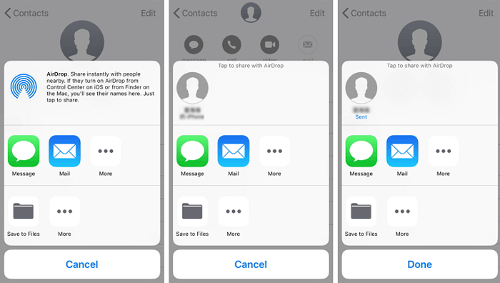 how to share contacts between iphone via airdrop