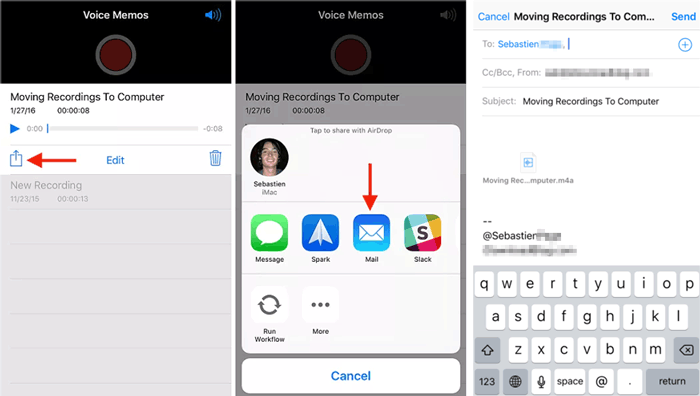how to transfer voice memos from iphone to computer without itunes via email