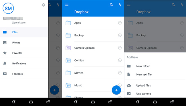 back up music on android with dropbox
