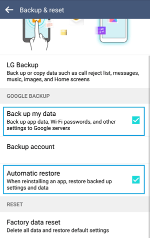 how to back up android phone before factory reset with native backup feature