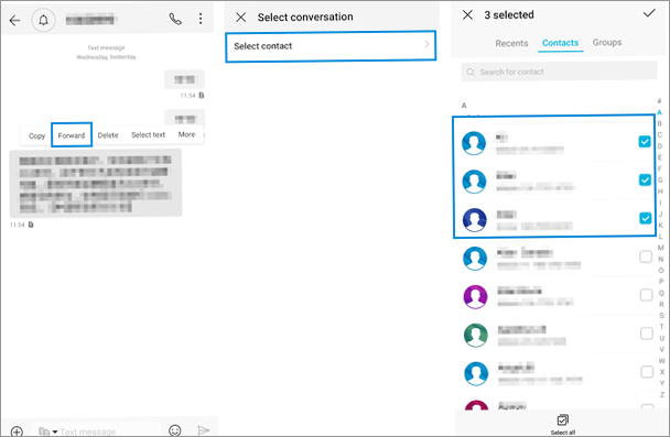 how to forward text messages on android directly