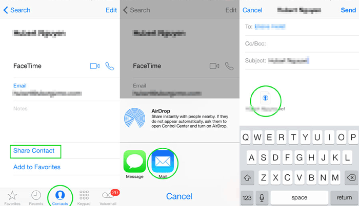 how to send contacts from one iphone to another via mail