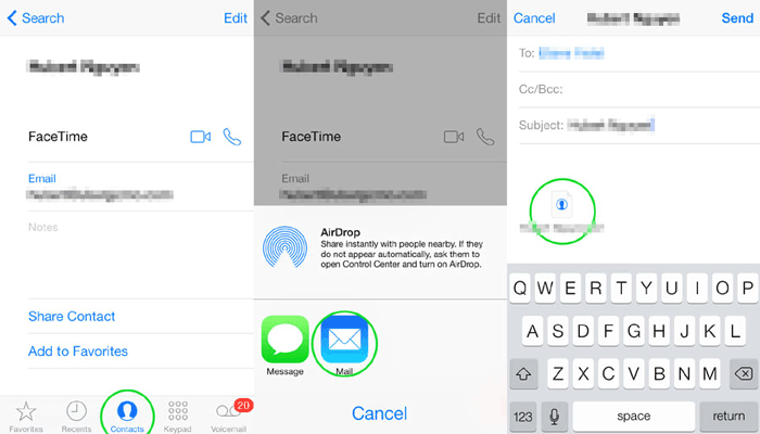how to transfer contacts from iphone to computer without itunes via email