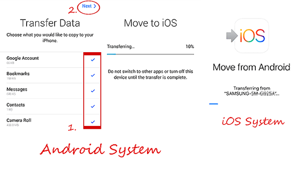 how to send video from android to iphone with move to ios