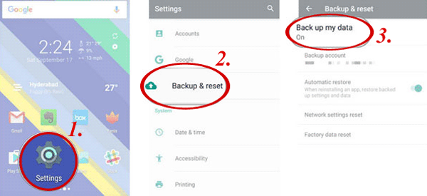 enable the backup feature for sony backup and restore