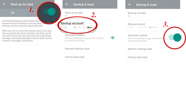 use google account to do sony backup and restore
