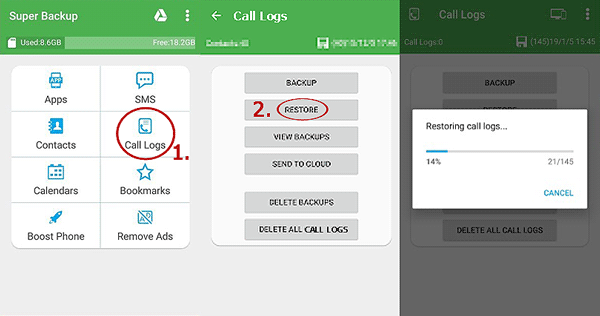 how to restore call log on android