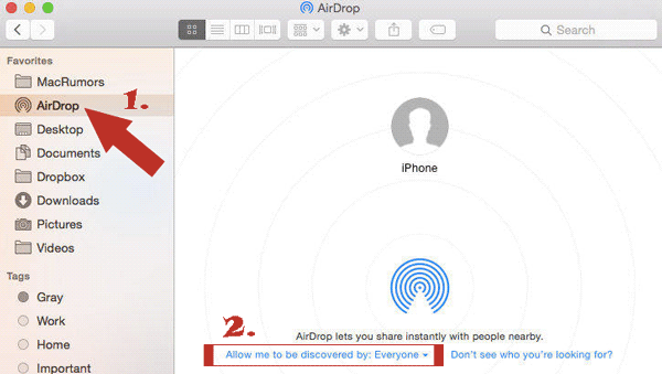 how to get photos off iphone to mac using airdrop