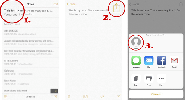 how to sync notes from iphone to mac via airdrop
