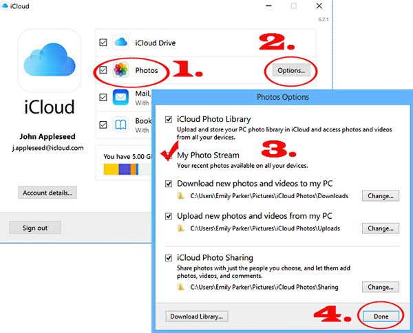 transfer photo albums from iphone to pc with icloud
