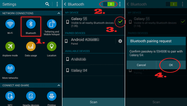establish connection between samsung devices via bluetooth