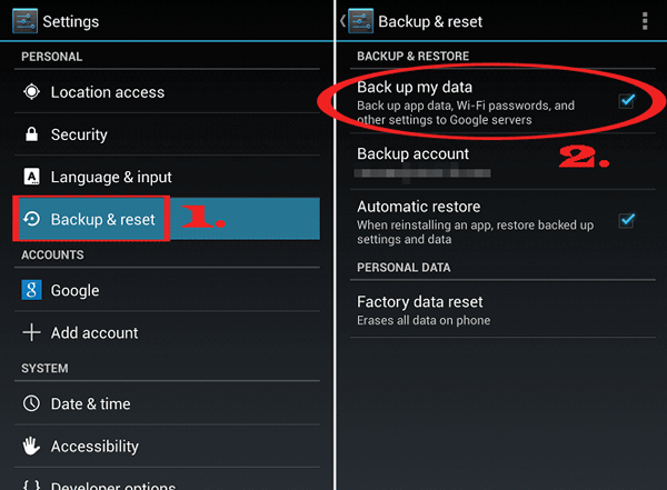 transfer data from android to android with android backup and restore feature