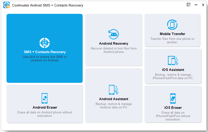 toolbox of coolmuster sms contacts recovery