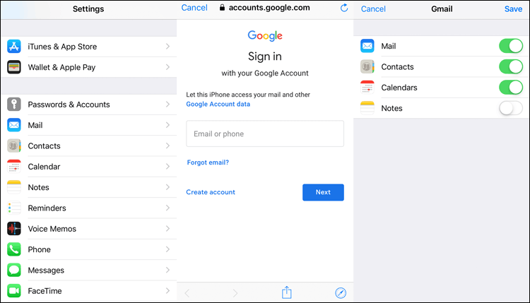 how to transfer contacts from samsung to iphone with google account