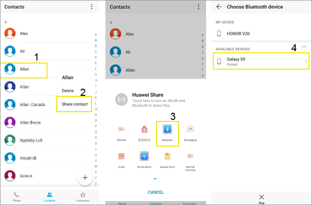 how to transfer contacts from samsung to samsung via bluetooth