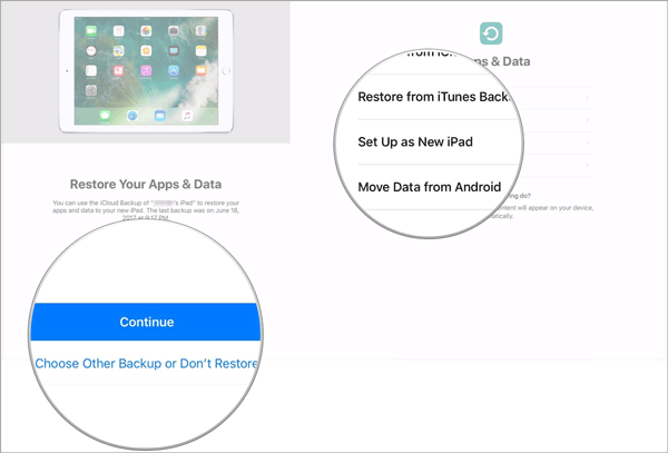 how to transfer data from one ipad to another with quick start