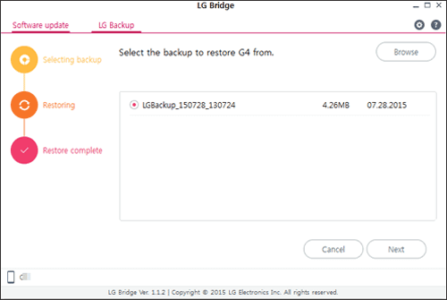 restore lg backup with lg bridge