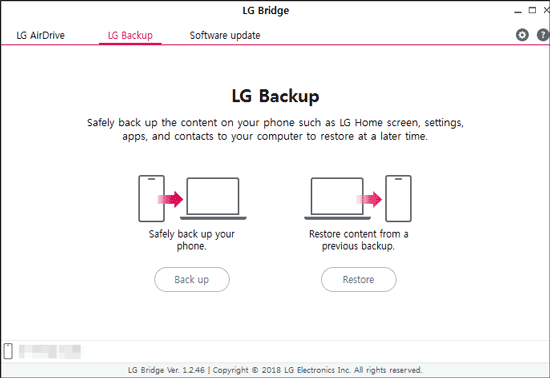 lg backup and restore with lg bridge